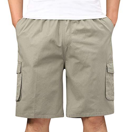 GreatestPAK Cargoshorts Herren Einfarbig Wanderhose Bermudashorts Sport Kurze Cargohose Taschen Freizeit Shorts,Grau,XXL