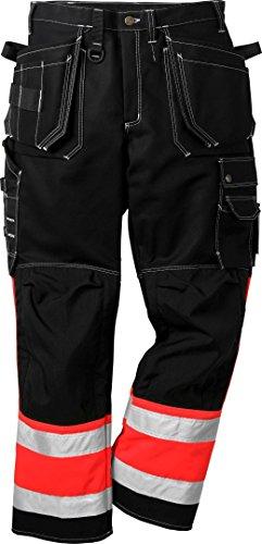 Fristads 100279 Kansas Workwear Hose, hohe Sichtbarkeit Gr. 44, Hi-vis Red/Black