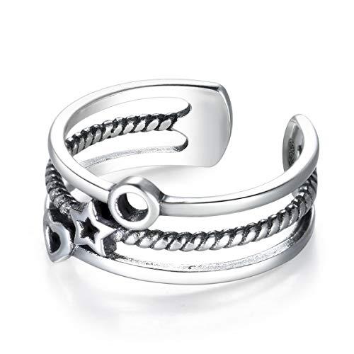 Guzhile - Anillo de plata de ley para mujer, diseño de corazón, tres capas, ajustable, anillo abierto, tamaño de las mujeres y las niñas, regalo encantador