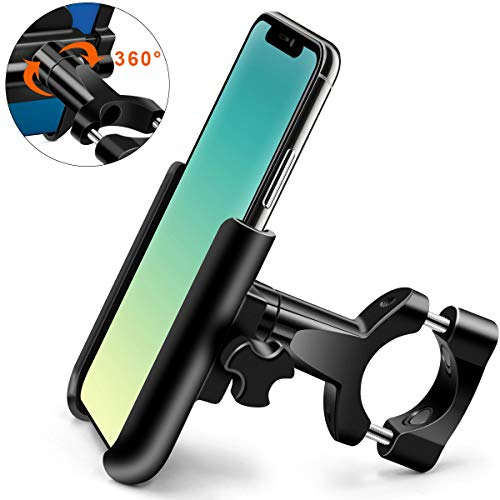 HNOOM Handyhalterung Fahrrad, Universal Motorrad Handyhalterung, Aluminium Handyhalter mit 360° Drehbar, Anti-Shake Fahrradhalterung Kompatibel für 4.0-6.8 Zoll Smartphones (Schwarz)