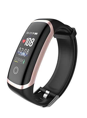 Bluetooth smart armband, sport + slaap + hartslagmeter + aantal stappen, herinnering + wekker smart waterdicht horloge, goud
