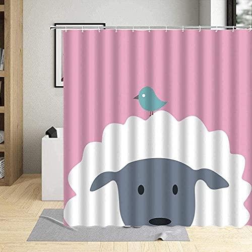 Cortinas para baño Cortina Protectora contra Perro de Origami de Granja '' 180*200cm para decoración de baño Cortina de baño de Cortina de Ducha de Tela de poliéster Impermeable 3D Decoración de