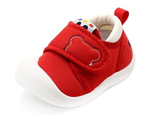 Mitudidi Krabbelschuhe Mädchen 20 Baby Lauflernschuhe Jungen Babyhausschuhe Babyschuhe Unisex Kleinkind Turnschuhe Atmungsaktiv rutschfest Indoor Hallenschuhe Rot