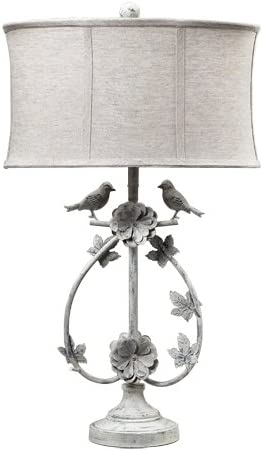 discount Dimond online sale 113-1134 Linen Shade French Country discount Two Birds Iron Table Lamp outlet online sale