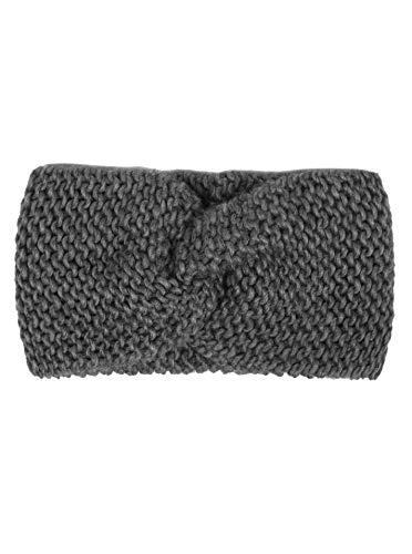 Zwillingsherz Stirnband mit Knoten - Hochwertiges Strick-Kopfband für Damen Frauen Mädchen - Wolle - Ohrenschutz - Haarband - warm weich und luftig für Frühjahr Herbst und Winter - dgrau