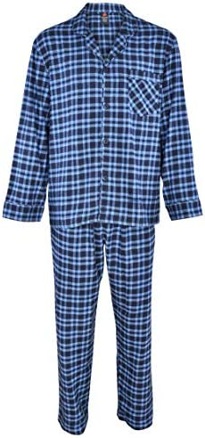 Hanes Men s 100 Cotton Flannel Plaid Pajama Top and Pant Set Blue Small product image