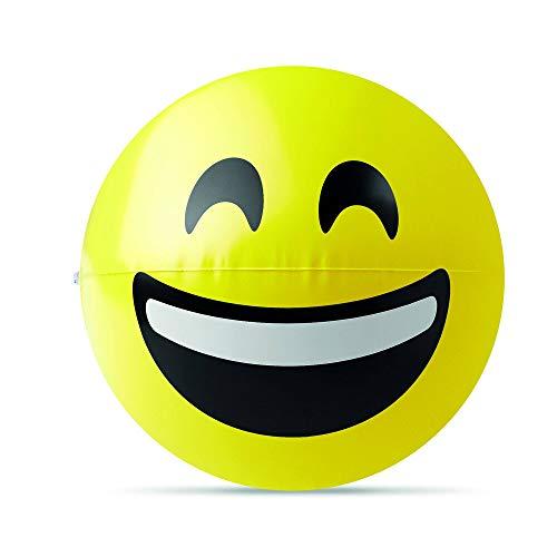 PromotionGift Pelota hinchable de playa con paneles amarillos y la risa - emoticono - amarillo