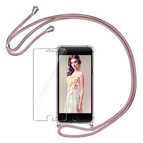 AROYI Funda con Cuerda Compatible con iPhone 7/8/ iPhone SE 2020 y Protector Pantalla, Carcasa Transparente TPU Silicona Case con Colgante Ajustable Correa de Cordón, Oro Rosa