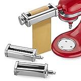 Gaodpz Juego de Accesorios de Rodillos y cortadores de pastas de 3 Piezas para mezcladores de Soporte de cocinaid, Accesorios de Espagueti de Acero Inoxidable