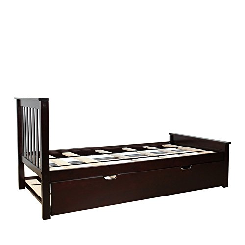 Max & Lily Solid Wood Twin-Size Bed with Trundle Bed, Espresso
