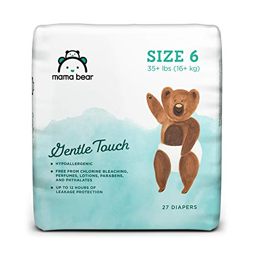Amazon Brand - Mama Bear Gentle Touch Diapers, Hypoallergenic, Size 6, 27 Count