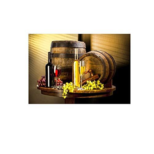 Pintura sobre lienzo Uva Vino Lienzo Pinturas artísticas Pared Varios vinos con uva Arte de la pared Impresiones en lienzo Cuadros decorativos para cocina Habitación 70x100cm Sin marco