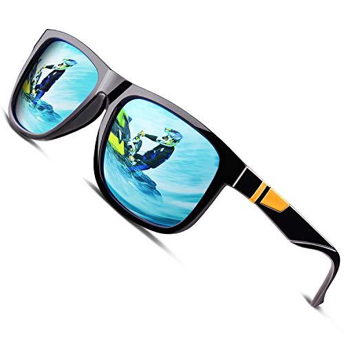 CGID Gafas de Sol Polarizadas Hombre y Mujer Retro 80's Rectangular de Conducción Decoración de Metal 100% UV400 Protección MJ44