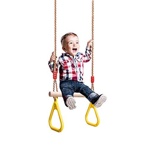MARIJEE Columpio multifuncional para niños, cuerda de madera con anillo de gimnasia de plástico, asiento de jardín con cuerdas ajustables, ideal para juegos de columpio y marcos de escalada