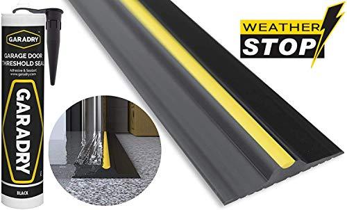 Weather Stop 15 mm (Höhe) Bodenabdichtung für Garagentore | 2,52 m | PVC schwarz/gelb | Kleber im Kit enthalten
