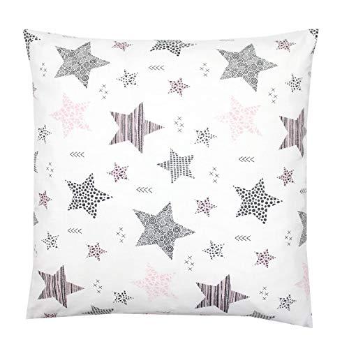 TupTam Kinder Kissenbezug Dekorativ Gemustert, Farbe: Sterne Rosa/Schwarz, Größe: 80x80 cm
