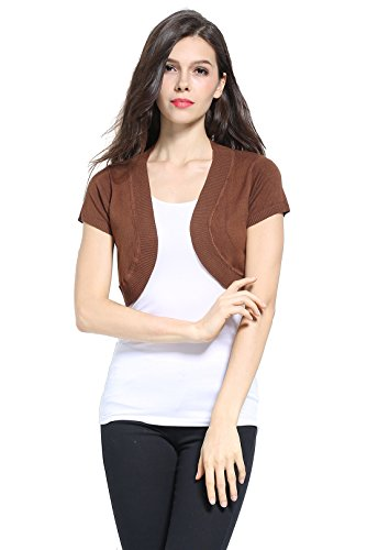 Sofishie Trendy Short Sleeve Shrug Open Cardigan - Brown - Large