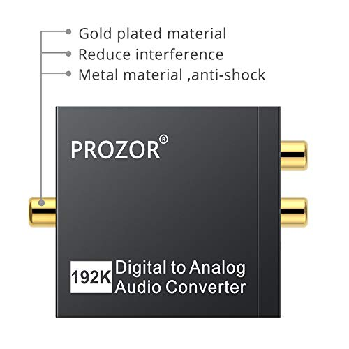 PROZOR 192kHz DAC Converter Digital SPDIF Toslink to Analog Stereo Audio R/L Converter Adapter with Optical Cable Compatible with PS3 HD DVD PS4 Sky HD Blu-ray