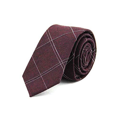 xlygood Uomo Plaid a righe cravatta Scollo 6Cm stretto Cotton Black Tie Blu fisso legame degli uomini Business Tie, vino rosso, un formato