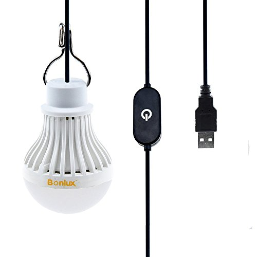 Bonlux 5V USB Led Bombilla con Interruptor, Lámpara con Colgador, Luz Portátil para Camping, Exteriores, Patio, Jardín, Barbacoa (Luz Fría)