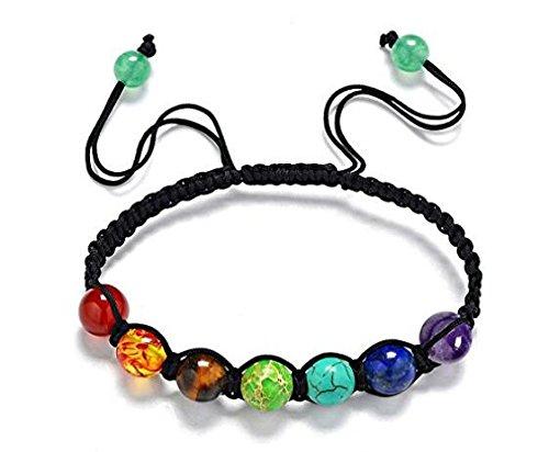 hwiionne Damen-Armband mit Lavastein-Perlen, Chakra-Armband, schwarz, heilende Energie, Edelstein, verstellbar, geflochten