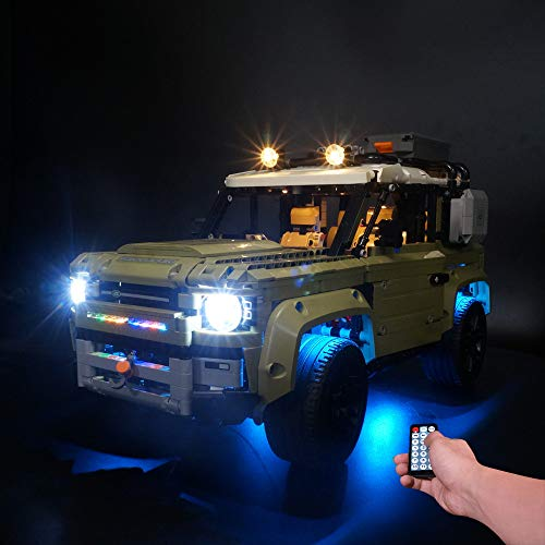 BSPAS LED Beleuchtungsset für Lego 42110 Technic Land Rover Defender, Beleuchtung Licht Set für Lego Land Rover Defender 42110 (Nicht Enthalten Lego Modell) (mit Fernbedienung)