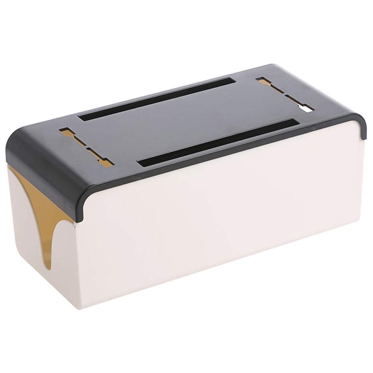 スーツ気味の悪いホイッスルストレージボックス、ソケットハブ、ホーム用のワイヤジャンクションボックスABS、デスクトップ29.8x11.8x12.1cm仕上げデスクトップ (Color : Black)