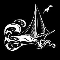 素敵なステッカー 18。3CMX16.7CM繊細な旅行の眩しい船のボート帆ラダーラインヴィンリーデカール車のステッカークール 車のステッカー (Color Name : Silver)