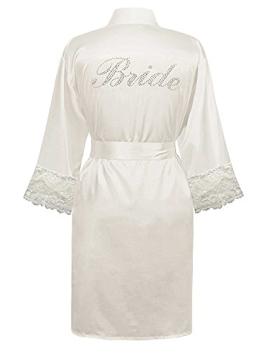 Swhiteme Bride Robe with Lace Trim, Small/Medium, Rhinestone, White