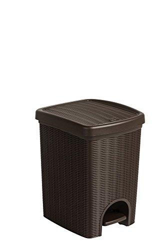 Tretmülleimer im Rattan Design mit herausnehmbaren Einsatz und 20 Liter Volumen im angenehmen Braun - für das Bad, die Küche oder das Büro