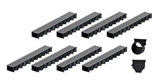 8x1m ACO Hexaline 2.0 Entwässerungsrinne Stegrost Stahl verzinkt Ablauf horizontal Bodenrinne Terrassenrinne