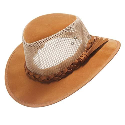 Mesh Sun Hat,Men's Golf Soaker Cowboy Hats Summer Wide Brim Safari Fishing Caps Outdoor(Tan,Medium)
