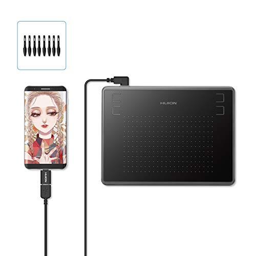 HUION Inspiroy H430P Tableta de Dibujo, con Tableta gráfica de área de Trabajo de 4.8 x 3 Pulgadas, Compatible con Mac Windows Android y OSU, Ideal para Trabajar Desde casa y Aprendizaje Remoto