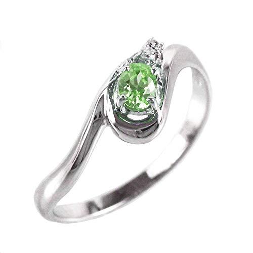 [リュイール ドゥージエム] ペリドット イエローゴールド K18 オーバル 一粒 8月 誕生石 ダイヤモンド リング レディース 14.5号