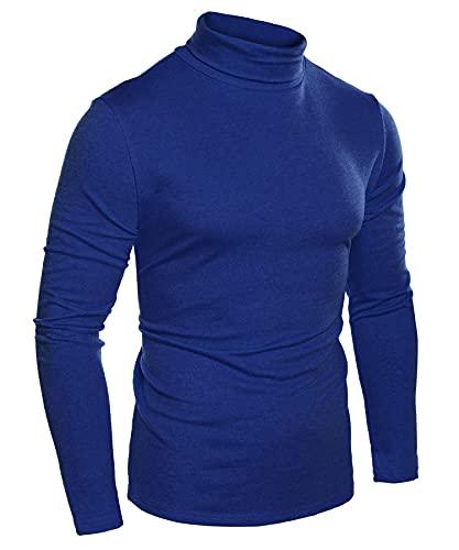 COOFANDY Men's Turtleneck Jumpers Slim Fit Roll Neck Sweaters Solid Color Turtleneck Tops Blue