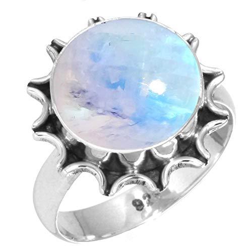 Anillo de piedra lunar Anillo de plata de piedra lunar del arco iris Tama/ño 4-31 ES Joyer/ía hecha a mano Anillo de plata Piedra de luna del arco iris Plata de ley 925