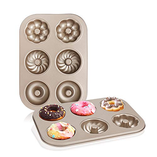 Nonstick Donut Pans, Beasea 2 Pack Donut and Bagel Pan Donut Baking Pans Donut Molder, Carbon Steel Mini Donut Mold, Donut Baking Tray Bagels Mold for 6 Donuts