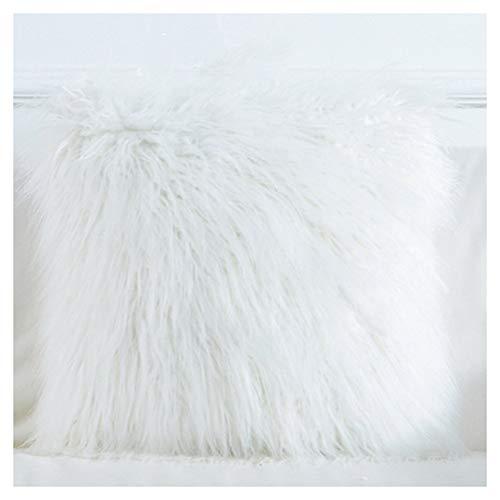 Huacel - Funda de cojín de tamaño estándar, grueso y largo, color liso, de pelo suave, cálido, rosado, azul, blanco, marrón, gris, decoración de sofá, decoración del hogar,...