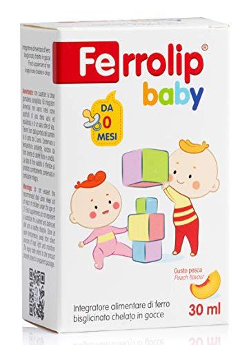 FERROLIP Baby | Integratore di ferro bisglicinato chelato in gocce per bambini | Flacone da 30 ml