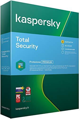 Kaspersky Total Security 2021 | 3 Dispositivo| 1 Anno | PC / Mac / Android | Codice di attivazione via posta