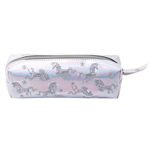 Shager Licorne Trousses de Toilette Maquillage Sac Bande Waterproof Cosmétique Cas de Toilette Voyage Zipper Sac Organisateur Trousse Sac à stylos Grande capacité (Blanc, 20 * 6 * 6cm)