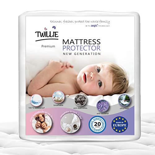 Twillie - Coprimaterasso 60 x 120 Impermeabile - Made in Europa - Oeko-Tex - Aegis - Traspirante - Proteggi Materasso Anallergico, Antiacari, Antibatterico Antimuffa - Igienico 100% Policotone