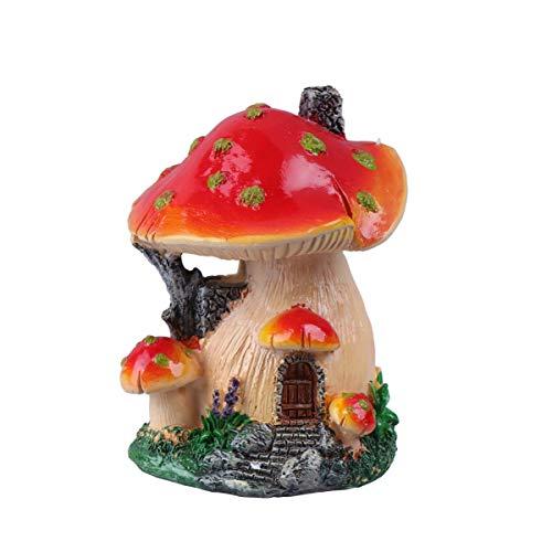 Hemoton Fée Jardin Champignon Maison Statue Bricolage Miniature Micro Paysage Ornements Bricolage Bonsaï Pot Décoration (Rouge + Jaune)