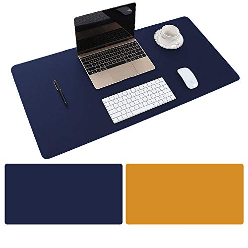 Mouse Pad Large Size 31.4 x 15.7 inch Double Sided Color Desk Pad with PU Leather XXL Mousepad for Laptops/Computers Work Gaming Office Home (Royal Blue/Deep Orange)