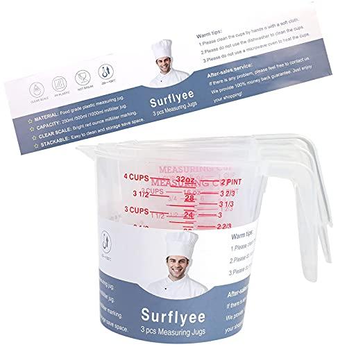 JoGos Caraffa plastica per fornelli, 4 tazze (1 litro), 2 tazze (500 ml) e 1 tazza piccola (250 ml), adatta al microonde, misura trasparente, facile da leggere, cuocere con precisione