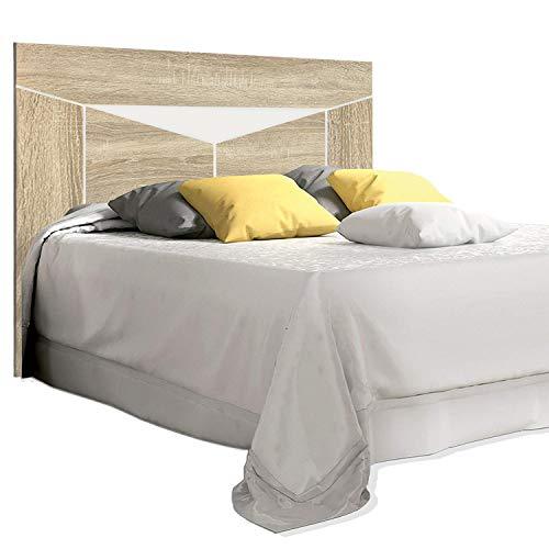 duehome HomeSouth - Cabezal para Cama de Matrimonio, cabecero Modelo Ada, Acabado en Color Cambria y Blanco, Medidas: 160 cm (Ancho) x 140 cm (Alto) x 3 cm (Fondo)