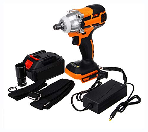 Power Drill, 1/2'' Brushless Electric Impact Wrench Cordless Torque Tool 20V 28000mAh Battery COD