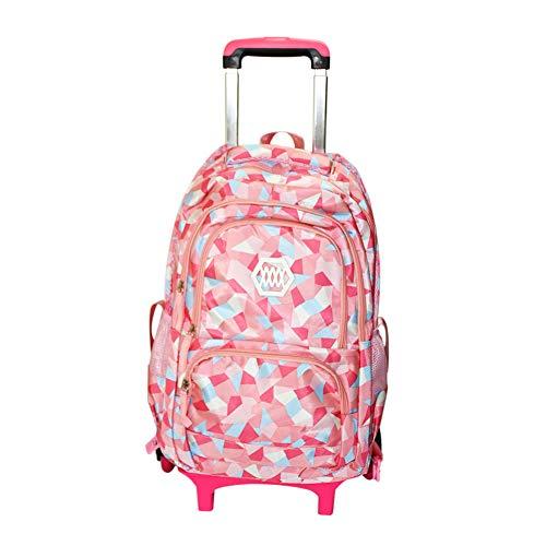 Hzjundasi Trolley Rucksack Studenten Tasche - mit Sechs Räder Treppensteigen - Reisen Schulrucksack für Grundschüler Jungen Mädchen Kinder (Rosa)