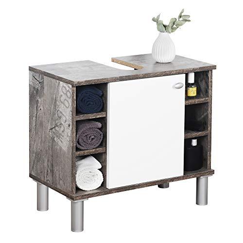 RICOO WM100-CF-W Waschbecken Unterschrank Badezimmer Waschtisch Klein Holz Eiche Vintage Grau Türe Weiß Badschrank für Bad Gäste WC ohne Becken