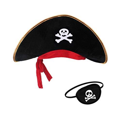 Pirata Sombrero Parche Ojo Caribe Capitán Niños y Adultos (para niños)